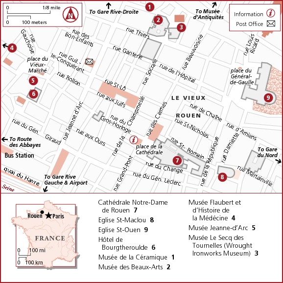 Достопримечательности Руана на карте города