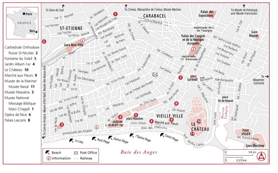 Достопримечательности Ниццы на карте города