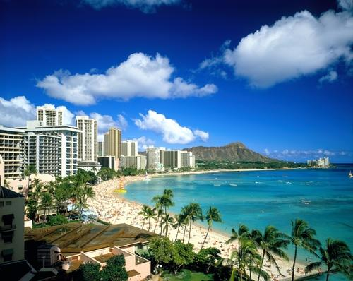 Waikiki Beach and Diamond Head.