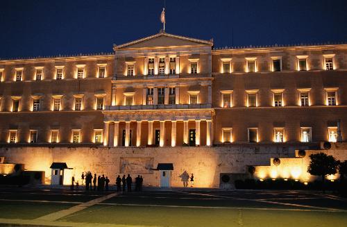 Athens Parliament at night