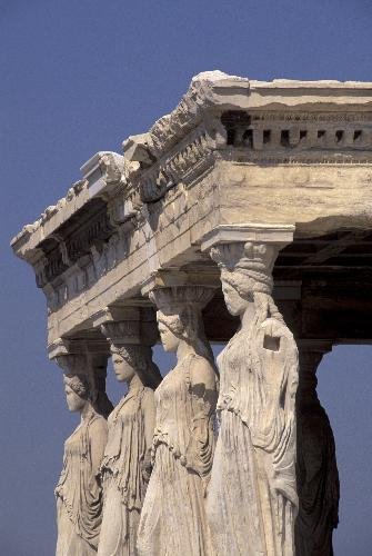Four female statues at the Acropolis