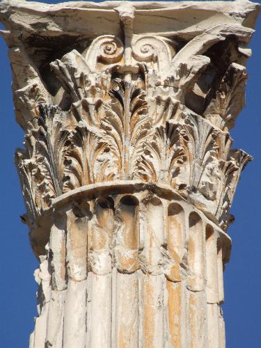 Closeup of column at temple of Zeus, Athens