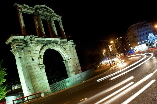 Hadrian's Arch at night in Athens, Greece