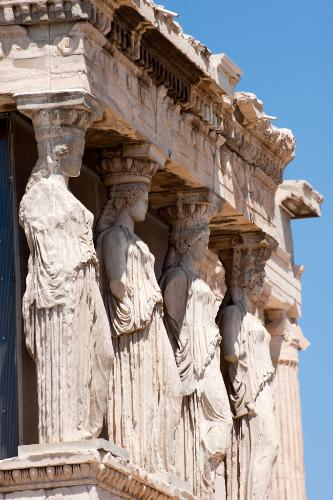 Detail of the Erechtheion on the Acropolis in Athens, Greece.