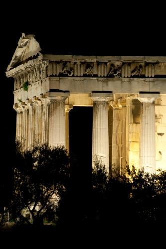 Night view of the Temple of Hephaestus in Athens, Greece.