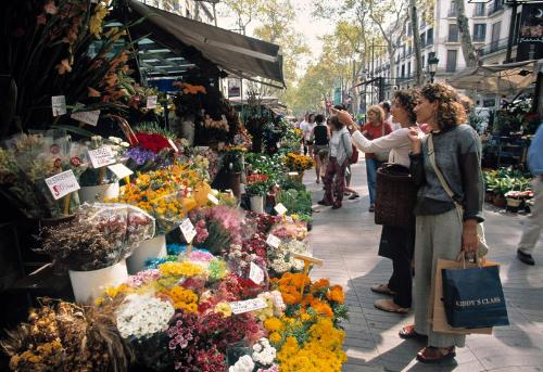 Fresh flowers are for sale daily on La Rambla