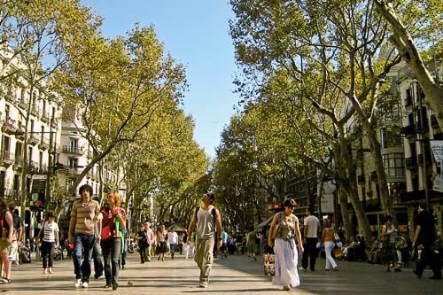 Strolling La Rambla in Barcelona.