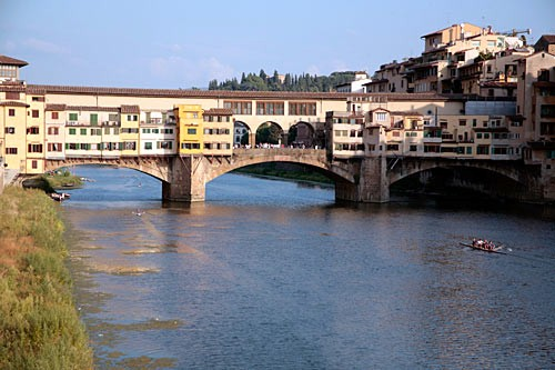 The Ponte Vecchio was the only one of Florence's medieval bridges left standing by the retreating German army in 1944.