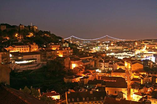 Lisbon, Portugal at night.