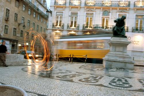 A tram passing in Lisbon, Portugal.