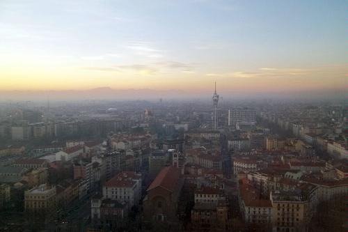 The view of Milan, Italy from the Torre Branca.