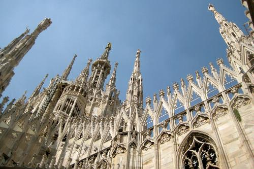 The spires of the Duomo in Milan, Italy.