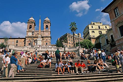 The Spanish Steps are the city's favorite gathering place.