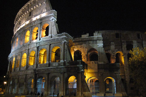 Exterior of the Coliseum at night, Rome