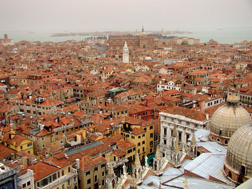 view over rooftops from bell tower, Venice