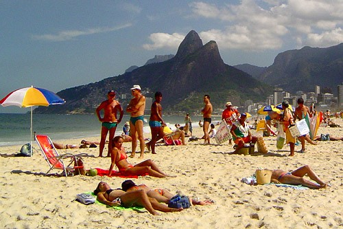 Rio's crowded Ipanema Beach.
