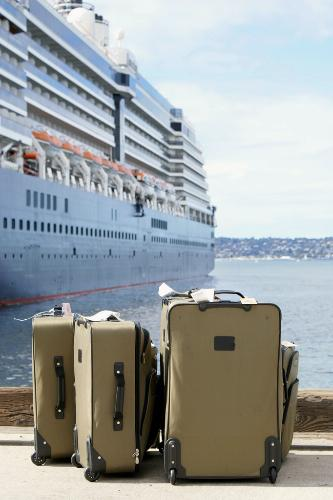 Luggage on the dock next to a cruise ship.