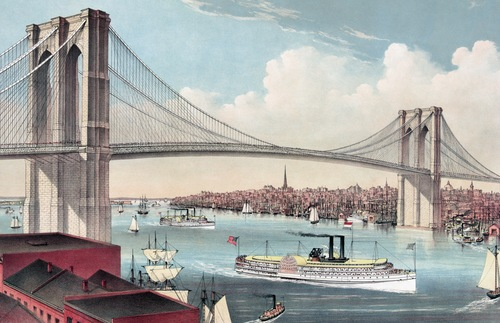 """The Great East River Suspension Bridge,"" an 1881 hand-colored lithograph by Currier & Ives"