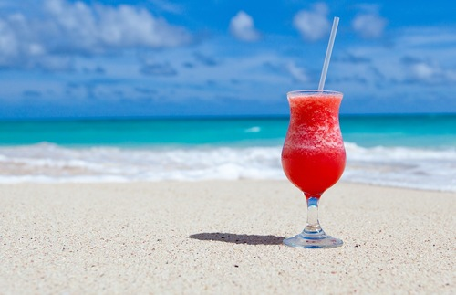 Frozen cocktail on a beach