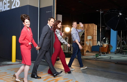 Will & Grace cast at Univeral Studios soundstage