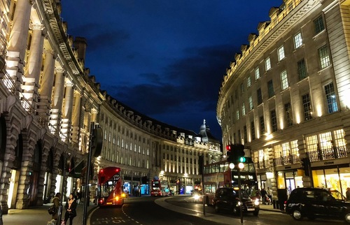Regent Street in evening, London