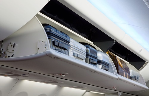 Overhead bins on airplane