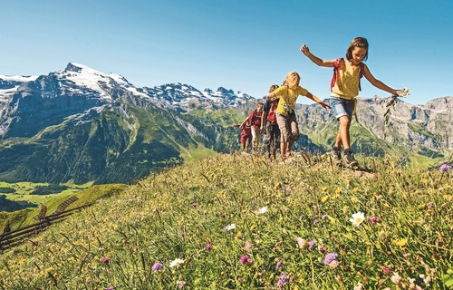 Kids hiking on Titlis, Switzerland