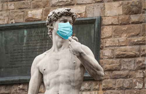 Masked David statue in Florence, Italy