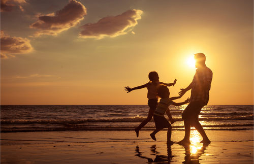 Family, children, beach, sunset