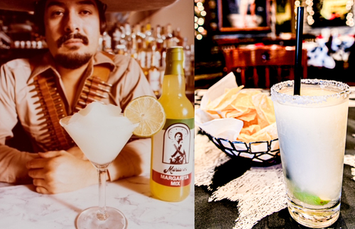 Then-and-now photos of Mariano Martinez with his frozen margarita at Mariano's restaurant in 1979 and the frozen margarita today
