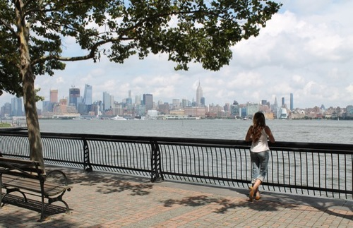 Hoboken waterfront skyline view