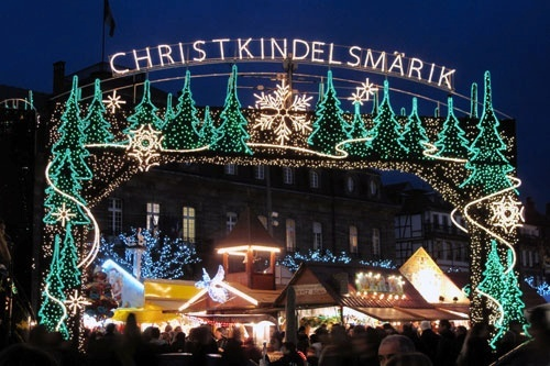 The lighted entry to the Christkindelsmärik -- the Christmas market -- of Strasbourg, France.