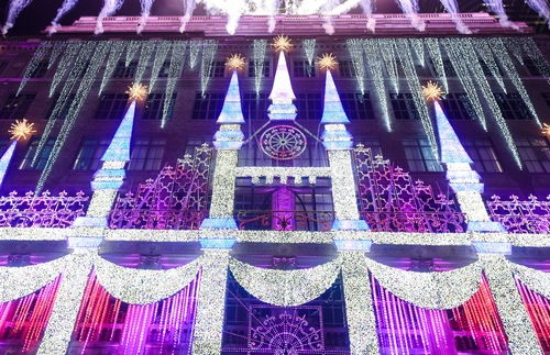 Holiday light show at Saks Fifth Avenue in New York City