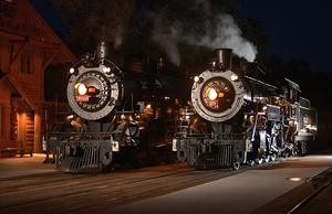 Twin engines at the depot of the Grand Canyon Railway
