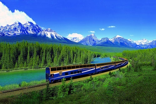 The Rocky Mountaineer passing through the Canadian Rockies.
