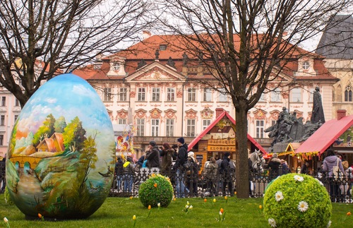 Easter market at Old Town Square in Prague