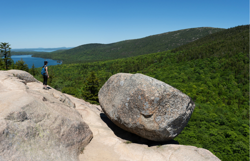 Acadia National Park offers a rare look at a precarious rock