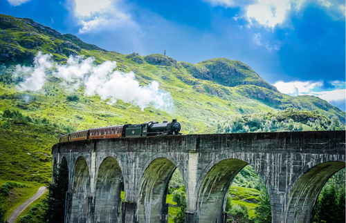 The Jacobite Steam Train in Glenfinnan, Scotland.