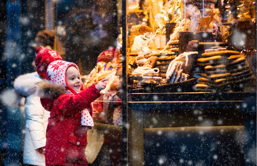 Window shopping in Munich, Germany, at Christmastime