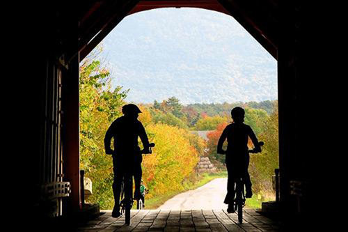 Go Sojourn Bike Tours has multiple routes that are perfect for viewing Vermont's fall foliage.