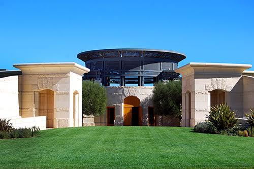 Located in Oakville, Opus One is a collaboration between Robert Mondavi and Phillipe Rothschild from France. The tasting room over looks the beautiful vineyards on the valley floor of Rutherford and Oakville in Napa Valley. Mondavi and Rothschild's Opus One Winery. Courtesy Meghan Lamb