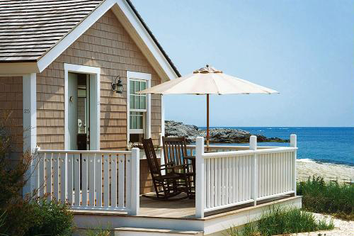 A cottage at Castle Hill Inn overlooking Narragansett Bay in Newport, Rhode Island.