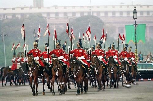 Indian Soldiers marching during the Independence Day ceremony held at Red Fort