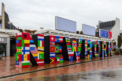 Newborn Monument at Downtown Pristina, painted with flags of the countries that have recognized Kosovo