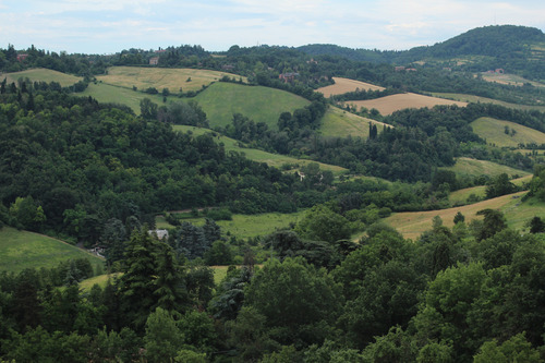 View of the hills of Bologna from the top of the Trecento Scalini
