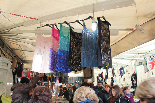 Dresses for sale at the Montagnola Market