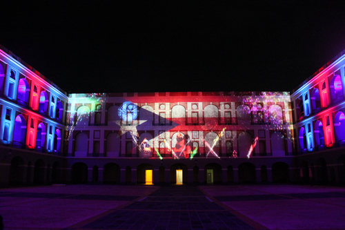 3D lightshow depicting Puerto Rican history and culture is projected onto the walls of Cuartel de Ballajá
