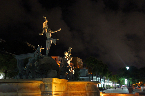 Raíces is a bronze sculpture and fountain which depicts Taino, European, and African figurines.