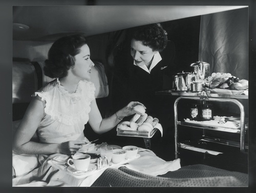 Breakfast in bed for a 'Monarch' class passenger on board a BOAC Stratocruiser, 1950s.