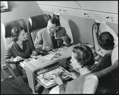 Lunch in first class on board a BEA Vickers Viscount, 1953.